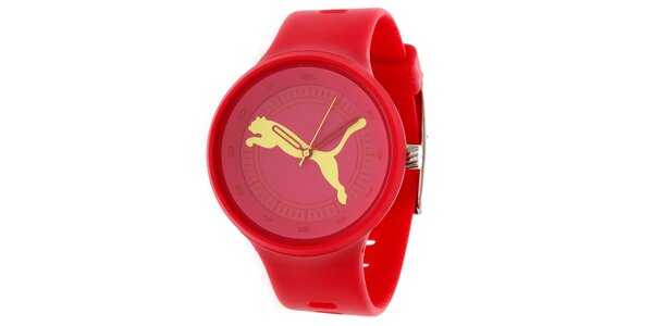 Pánske červené okrúhle analógové hodinky Puma