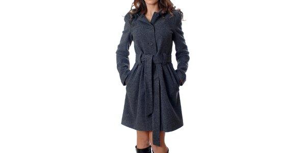 Klasický dámsky kabátik Mya Alberta s kapucou v šedej žihanej farbe