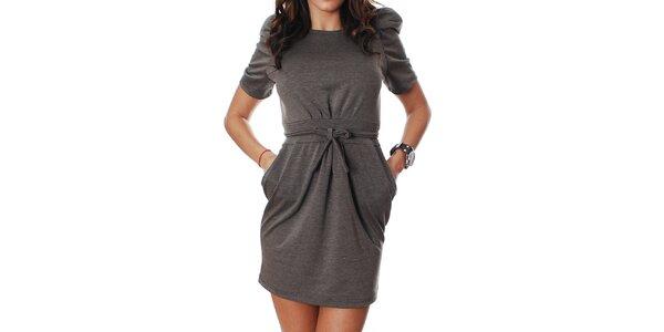 Dámske šedo-hnedé šaty Mya Alberta s mašličkou