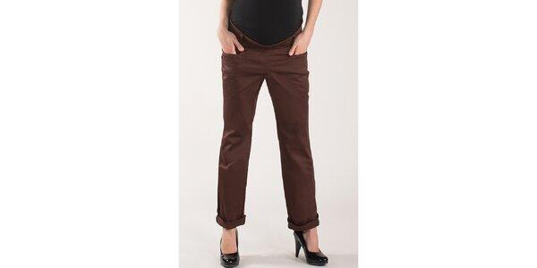 Dámske čokoládovo hnedé nohavice Mom2mom