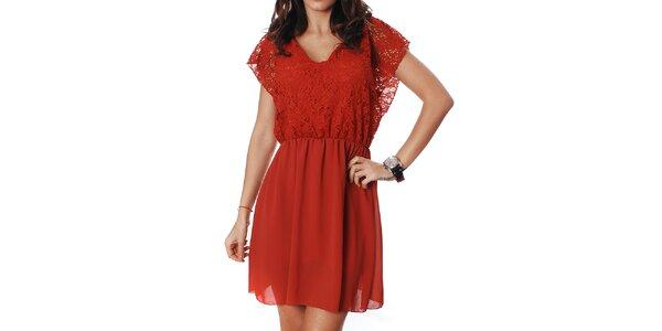 Dámske červené šaty Mya Alberta s čipkou
