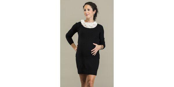 Dámske čierne šaty s odopínateľným límčekom Mom2mom