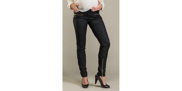 Dámske čierne lesklé nohavice so zipsami Mom2mom