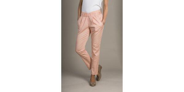 Dámske ružovo-marhuľkové chino nohavice Mom2mom