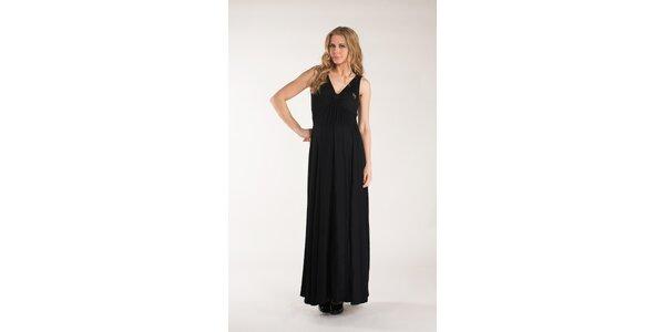 Dámske dlhé čierne šaty Mom2mom