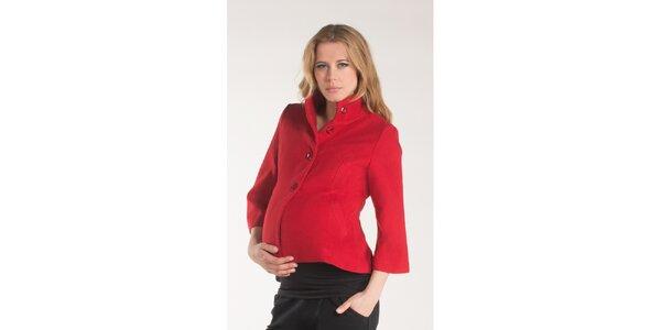 Dámsky červený kabát Mom2mom