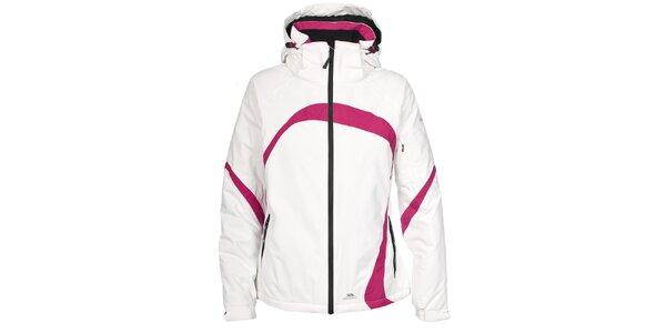Dámska biela lyžiarska bunda s ružovými detailmi Trespass