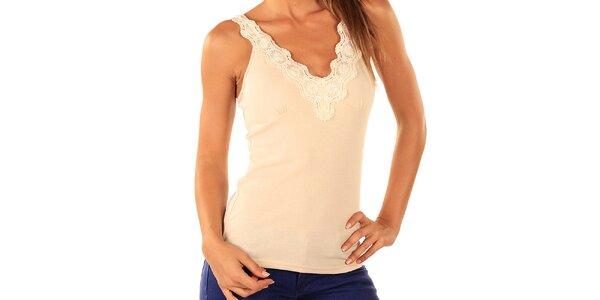 Dámsky biely top s čipkovanými ramienkami Ada Gatti