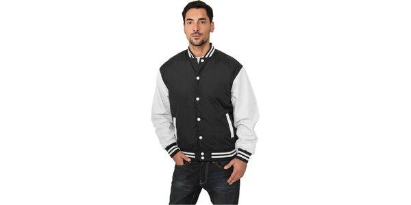 Pánska ľahká čierna bunda Urban Classics s bielymi rukávmi