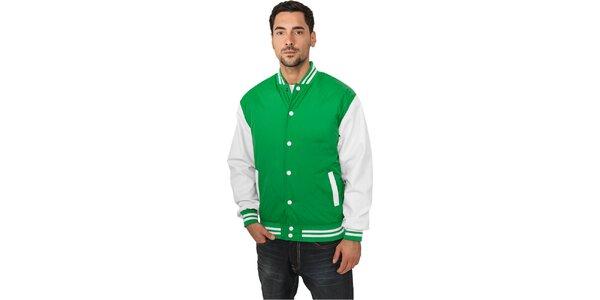 Pánska ľahká zelená bunda Urban Classics s bielymi rukávmi
