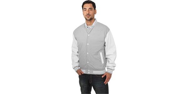 Pánska ľahká šedá bunda Urban Classics s bielymi rukávmi