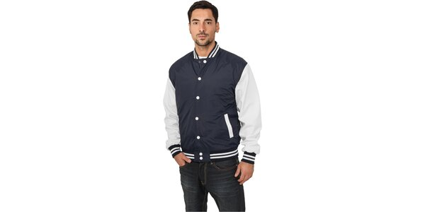 Pánska ľahká modrá bunda Urban Classics s bielymi rukávmi