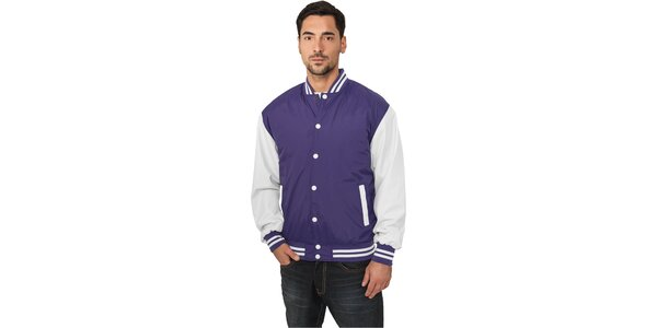 Pánska ľahká fialová bunda Urban Classics s bielymi rukávmi