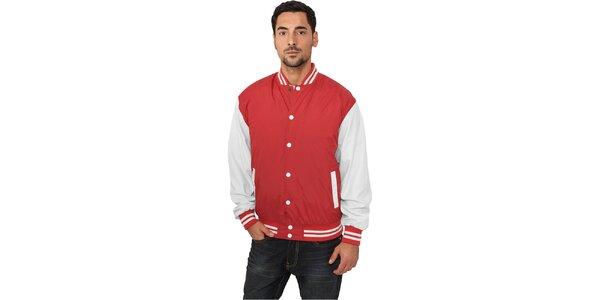 Pánska ľahká červená bunda Urban Classics s bielymi rukávmi