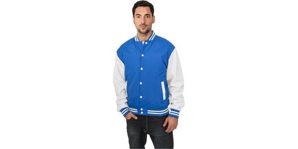 Pánska ľahká nebesky modrá bunda Urban Classics s bielymi rukávmi