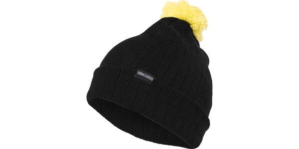 Pánska čierna čiapka s neonovo žltým brmbolcom Urban Classics