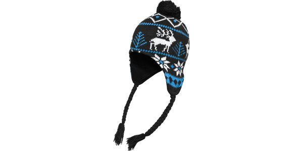 Bielo-tyrkysovo-čierna čiapka s nórskym vzorom Urban Classics