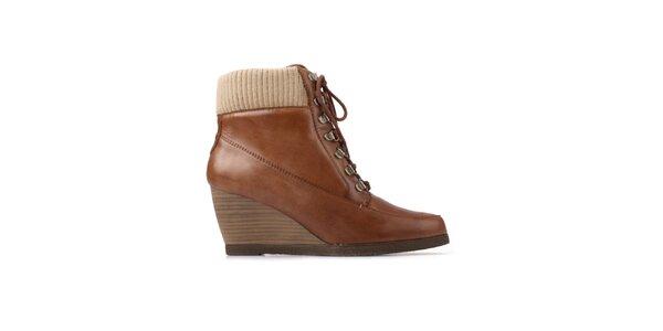 Dámske hnedé šnúrovacie topánky Derhy