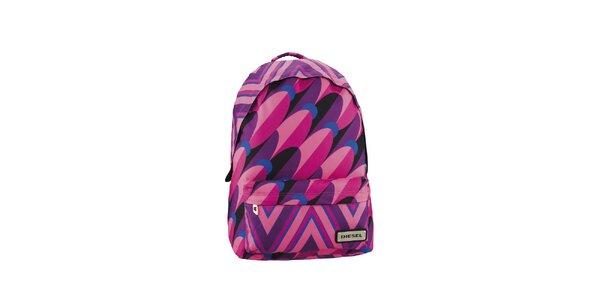Ružovo-fialový pestrý ruksak Diesel