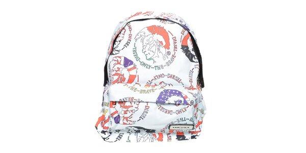 Biely ruksak s farebnou potlačou Diesel