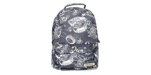Šedo-biely ruksak s potlačou Diesel