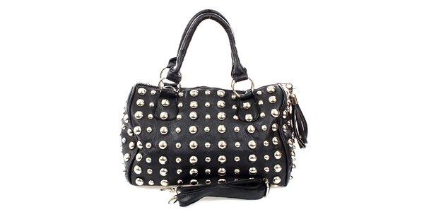 Dámska čierna malá kabelka s cvočkami London Fashion