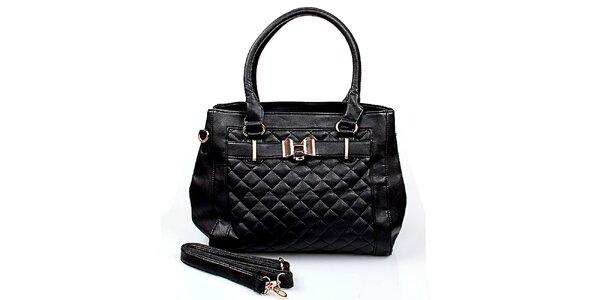 Dámska čierna prešívaná kabelka London Fashion