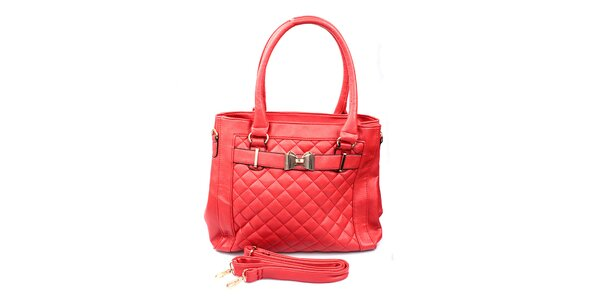 Dámska červená prešívaná kabelka London Fashion