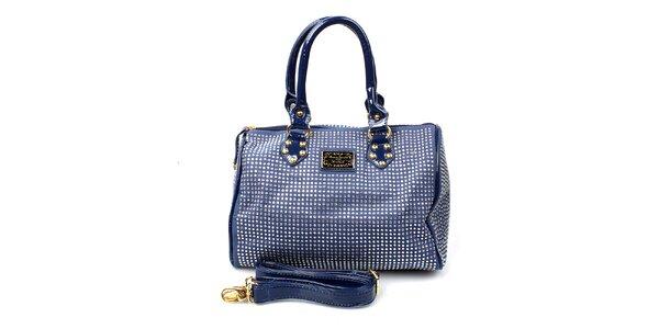 Dámska tmavo modrá kabelka s kamienkami Anna Smith