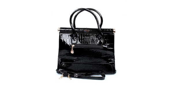 Dámska lesklá čierna kabelka London Fashion