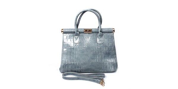 Dámska lesklá šedá kabelka London Fashion