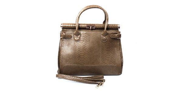 Dámska šedohnedá kabelka so zámkom London Fashion