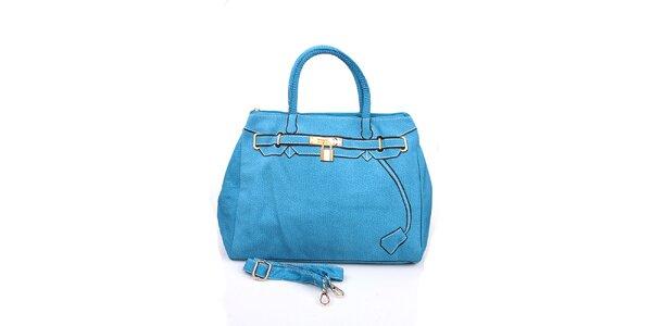 Dámska modrá kabelka s potlačou zlatého zámku London Fashion
