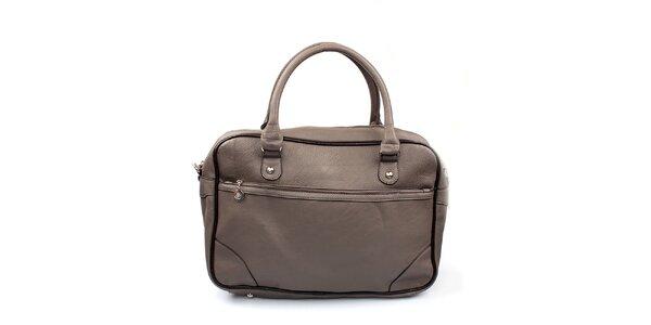 Dámska šedá kabelka s čiernym lemovaním London Fashion