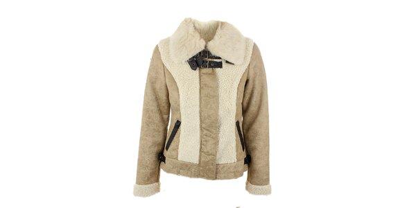 Dámska béžová bunda s kožušinou na golieri Company&Co