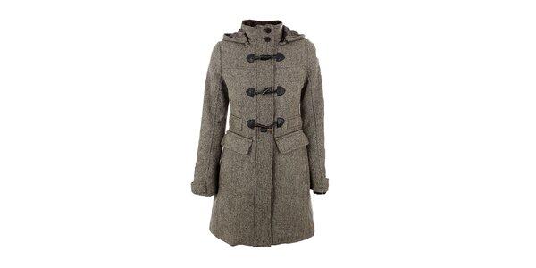 Dámsky hnedo-béžový tvídový kabát s kapucňou Company&Co