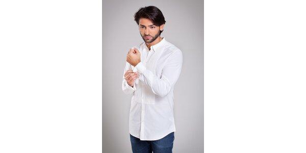 Pánska biela košela Dolce & Gabana s ozdobným plisovaním