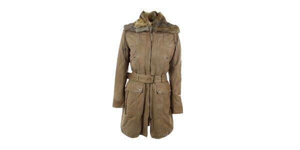 Dámsky hnedo-béžový kožený kabát Company&Co