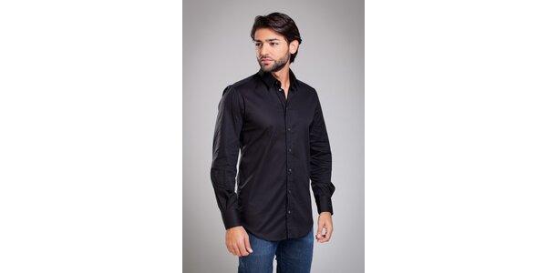 Pánska čierna košela Dolce & Gabbana s jemným prúžkom