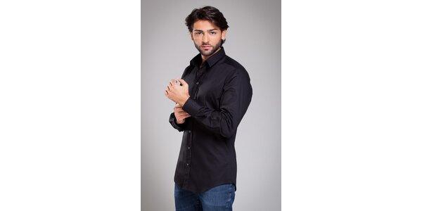 Pánska čierna košela Dolce & Gabbana s prúžkom
