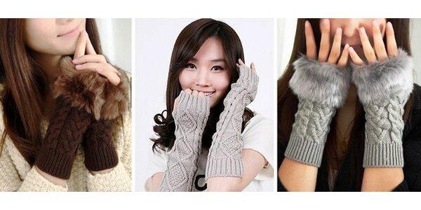 Štýlové rukavičky s kožušinkou