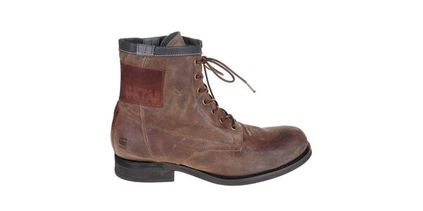 Pánske tmavo hnedé kožené boty G-Star