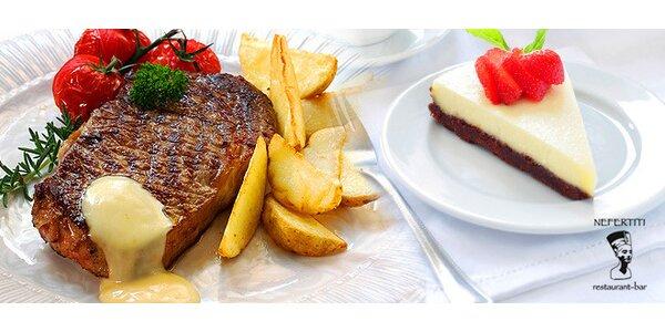 10,90 eura za Rumpsteak v dijonskej omáčke s opekanými zemiakmi a dezertom