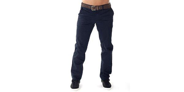 Pánske tmavé nohavice s hnedým opaskom Bendorff