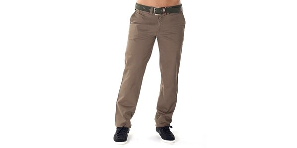 Pánske svetlo hnedé nohavice s opaskom Bendorff