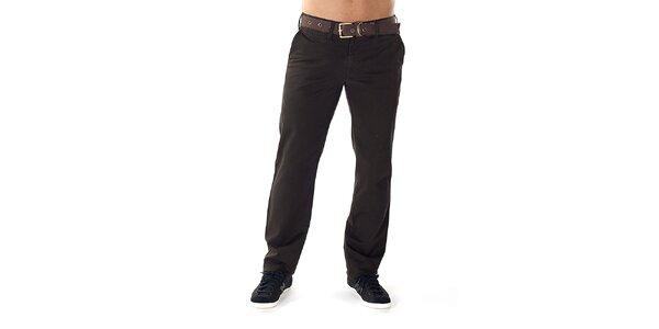 Pánske tmavo hnedé nohavice s opaskom Bendorff