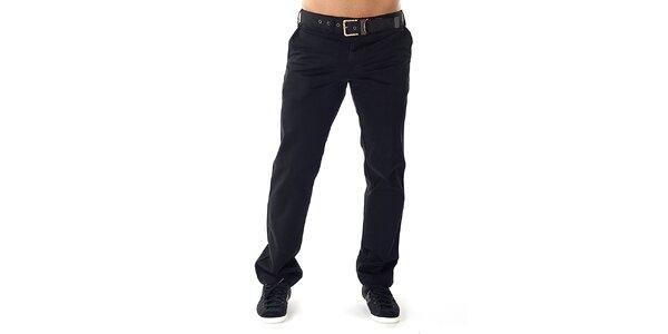 Pánske čierne nohavice s opaskom Bendorff
