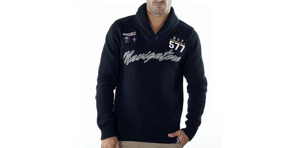 Pánsky tmavo modrý sveter s nápisom Bendorff
