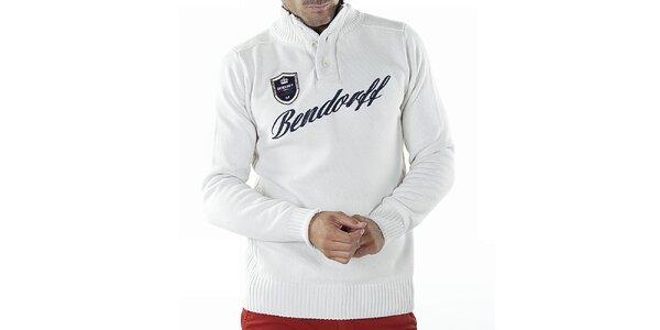 Pánsky biely sveter s nášivkou Bendorff