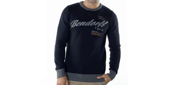 Pánsky tmavo modrý sveter s kontrastnými lemami Bendorff